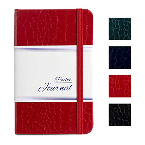 Pocket Notebook   Journal 3.5 x 5.5 - Small / Mini Size - Hardcover Crocodile Faux Leather Textured - Premium Thick Acid-Free Ivory Paper - Lightly Ruled - by CAMOLEAF (Red)