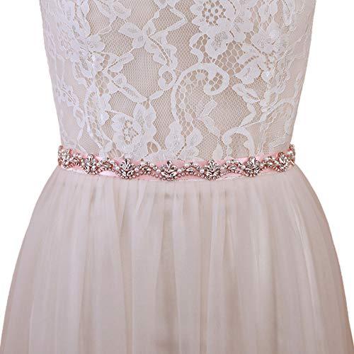 Azaleas trouwgordel roségoud trouwjurk strassgordel taillegordel glitter bruid (S421-RG)