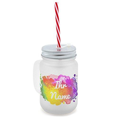 printplanet® - Trinkglas mit Henkel und Strohhalm - personalisiert mit Namen - Motiv Color Paint - Henkel-Glas satiniert mit Deckel und Mehrweg-Trinkhalm