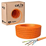 HB-DIGITAL 50m cat.7A cable de red cable LAN AWG 23/1 Naranja Cable cat 7 cobre profesional S/FTP PIMF LSZH libre de halógenos RoHS compliant Cat7a cat.7 a cable de datos Ethernet 10 Gbit 1000 MHz