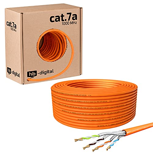 HB-DIGITAL 25m CAT.7a Netzwerkkabel LAN Kabel Verlegekabel AWG 23 Reines Kupfer S/FTP PiMF LSZH Halogenfrei RoHS-Compliant Ethernet Installationskabel Datenkabel PoE 10Gbit/s max. 1200MHz Orange