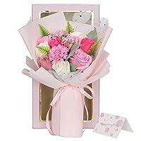 ソープフラワー 花束 母の日 バラ 誕生日人気ギフト 彼女 女性 造花 枯れない 石鹼花 り物 敬老の日 開店祝い 入学祝 メッセージカード付き (ピンク +シャンペン色)