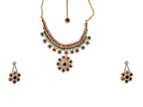 Bollywood Conjunto Joyas Deepika Rojo Verde con bindis y brazaletes Indios Joyas Set Sari joyería Accesorios