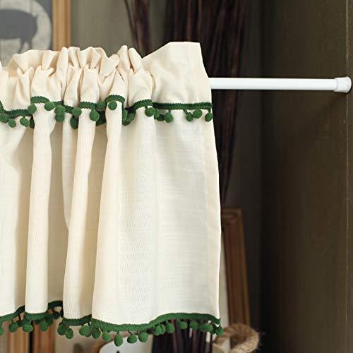 MELAG Cortinas de Cocina de café Cortinas de poliéster nórdico para Ventana de Cocina Cortinas de Media Varilla con Costura de Borla (Ancho 130 cm,Alto 60 cm)