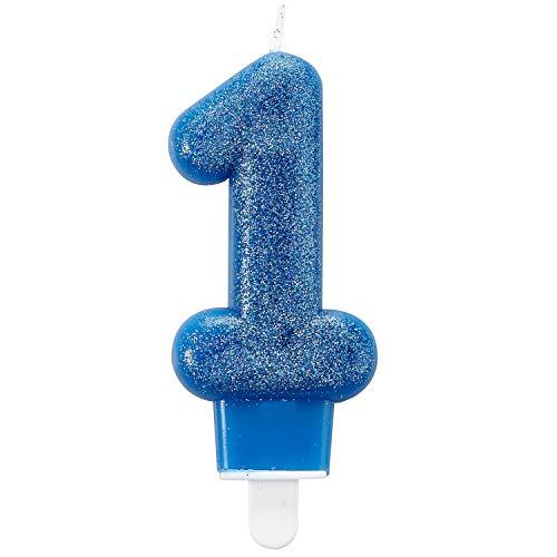 Amscan Glitter verjaardagskaars als nummer 1