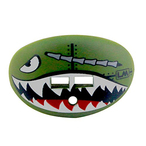 Loudmouth Football Mouth Guard | Military Flying Tiger Adult and Youth Mouth Guard | High Impact Mouth Piece for Sports | Dual Action Air Flow Mouth Guards | Pacifier Lip and Teeth Protector (Green)