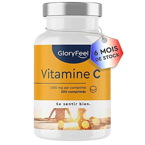 Vitamine C 1000 mg - 200 Comprimés Végétaliens (7 Mois) - Vitamin C Concentré Pour le Système Immunitaire - Vit C Végan sans Gluten - sans Lactose - Acide Ascorbique Pure - Testé Cliniquement