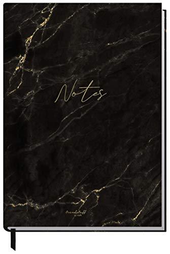 Notizbuch A5 liniert [Schwarzer Marmor] von Trendstuff by Häfft | 126 Seiten, 63 Blatt | ideal als Tagebuch, Bullet Journal, Ideenbuch, Schreibheft | nachhaltig & klimaneutral
