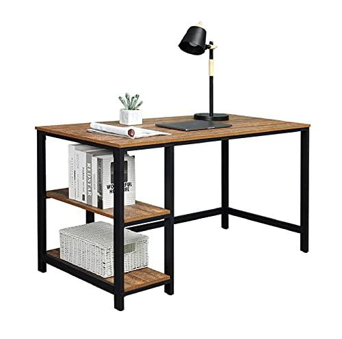 Meerveil Mesa Escritorio, Mesa Ordenador Escritorio Clásico con 2 Estantes de Ahorro Estructura Metálica Aglomerado 120 * 60 * 75cm