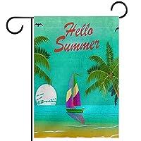 庭の旗、庭の装飾屋外看板吊り飾り、こんにちは夏のヤシの木の船の鳥 、テラス鉢植えデッキ用12x18インチ