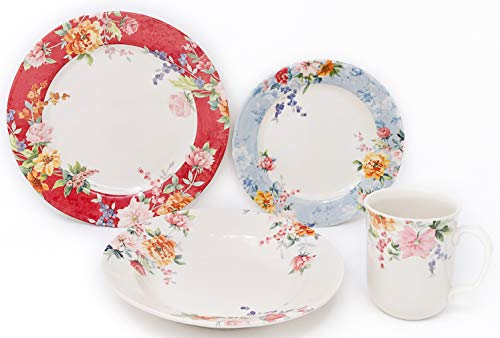 Tudor 24-Piece Porcelain Dinnerware Set, Service for 6 - CRIMSON; Special OFFER; See 10 Designs INSIDE!