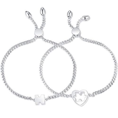 Coppia di braccialetti amati a forma di cuore per coppie, in argento, regalo di Natale, San Valentino, regalo per partner e Acciaio inossidabile