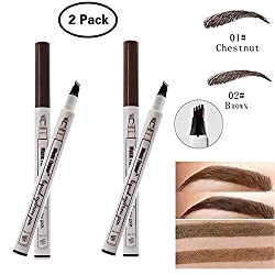 Dkina Tattoo Eyebrow Pencil, 2 Colors Waterproof Eyebrow Pencil with 4 Tips Smudge-proof Long-lasting Eyebrow Pencil for Eye Makeup (Chestnut & Brown)
