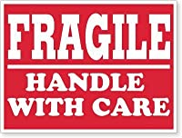 TUCO DEALS - 4 x 6 Rectangle FRAGILE Handle with Care Self Adhesive Warning Shipping Labels/Stickers (300 Labels Per Roll/Red) [並行輸入品]