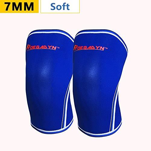 Factory Promotion Gym 7mm weiche Neopren-Kompressions-Gewichtheber-Kniebandage für Männer und Frauen, passend - 004 Blau (7mm), XXL