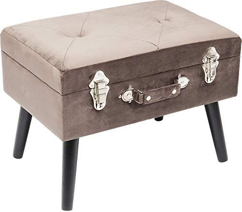 Kare Design Fußhocker Suitcase Grau, zierlicher Fußhocker mit Stauraum in Form eines Koffers, Sitzhocker mit Ablage und Stauraum, Polsterhocker, Designer Hocker (B/H/T) 61x53x38cm