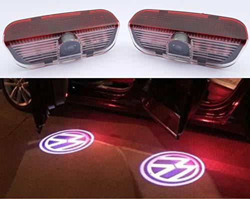 2x SMP® Logo Tür Projektor für VW / Volkswagen, LED Willkommens-Licht mit VW Emblem - Türbeleuchtung - Einstiegsleuchten - Geist Schatten Lampe - [ 1K0947411A - 000052120B - 000052120C ]