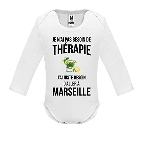 LookMyKase Body bébé - Manche Longue - Je n AI Pas Besoin de Therapie j AI Juste Besoin d Aller à Marseille - Bébé Garçon - Blanc - 9MOIS