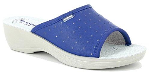 inblu PL000045 Jeans Ciabatte SANITARIE Donna Sottopiede ANATOMICO Vera Pelle Zeppa 4,5 CM Azzurro 35