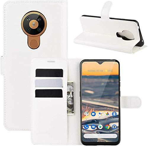 Lapinette Hülle Kompatibel mit Nokia 5.3 - Schutzhülle Klappbar Stoßfeste Folio - Lederhülle Nokia 5.3 - Wallet Kartenfächer Standfunktion Magnet Weiß