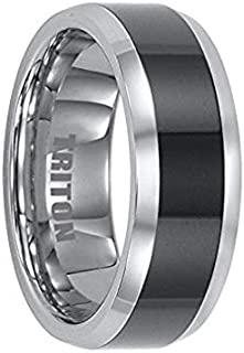 Thorsten Algernon | Tungsten Rings for Men | Tungsten | Comfort Fit | Wedding Ring Band with Black Ceramic Inlay and Polished Bevels - 8mm