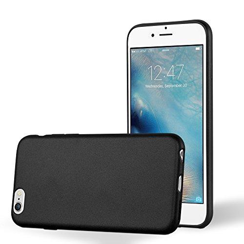 Cadorabo Custodia per Apple iPhone 6 / iPhone 6S in Nero Metallico – Morbida Cover Protettiva Sottile di Silicone TPU con Bordo Protezione – Ultra Slim Case Antiurto Gel Back Bumper Guscio