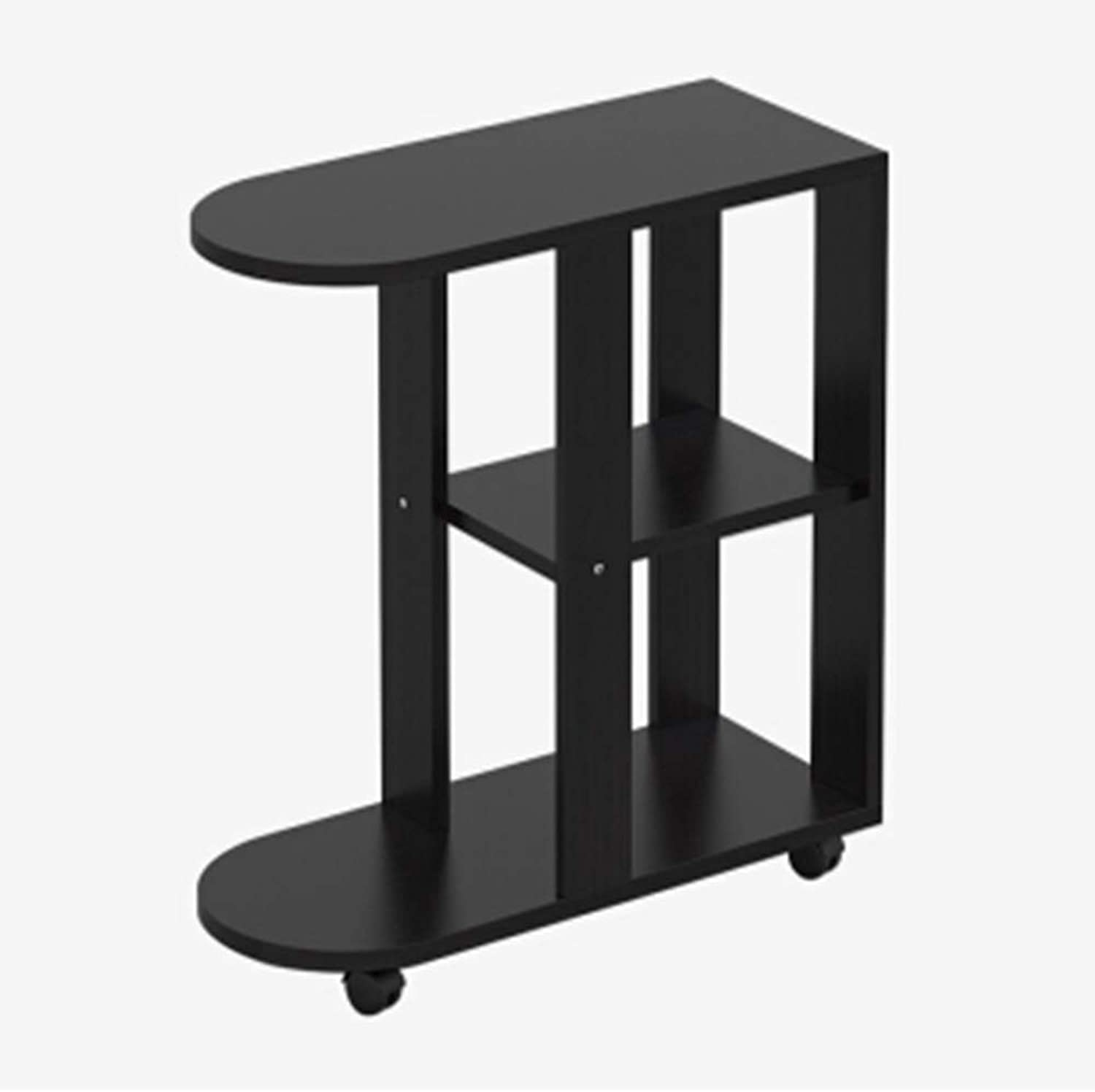 Small Coffee Table MDF Side Table Three-Story Sofa Table Multi-Function Small Dining Table 3 colors (color   Black)