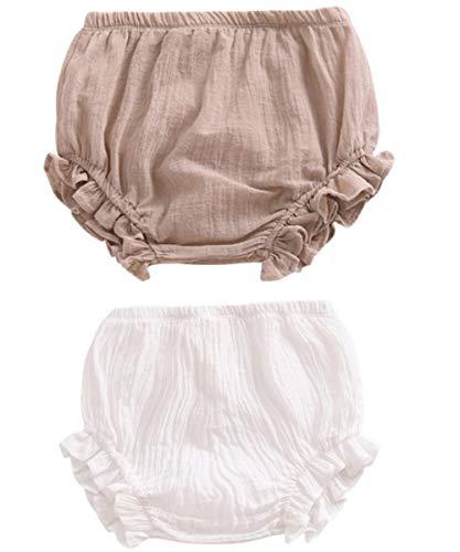 HASAKI - Set di 2 pantaloncini per neonati, in lino, per neonati, bambini, con motivo floreale kaki + bianco 2-3 Anni