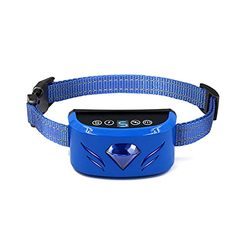 YJYJ Collar Recargable Antiladridos para Mascotas Shock Eléctrico Automático Antiladridos Collar De Adiestramiento para Perros 3 Modos Adecuado para Todo Tipo De Perros,Azul