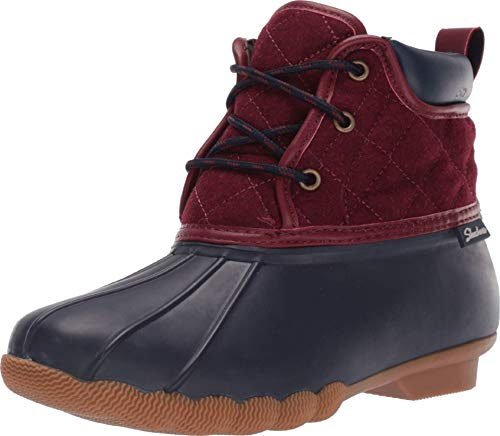 Skechers Damen Pond-Lil Puddles-Mid Quilted Lace Up Duck Boot with Waterproof Outsole Regenstiefel, Marineblau/rot, 36 EU