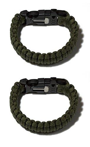 Pack von Zwei Überlebens-Armbänder Paracord Whistle Gear Schaber und Feuersteinstab Kits Outdoor (schwarz & Armee Grün) - 5
