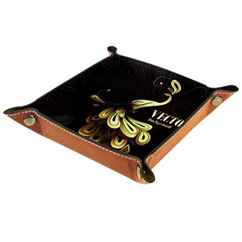 YATELI Caja de Almacenamiento pequeña, Bandeja de Valet para Hombre,Vector Naranja Pavo Real,Organizador de Cuero para Llaves de Caja de Monedas