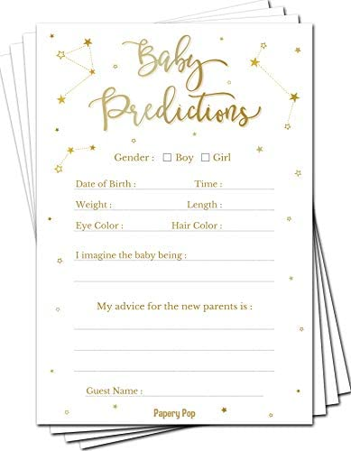Baby Shower Games for Boys or Girls Baby Predictions and Advice Cards Pack of 50 Gender Reveal product image