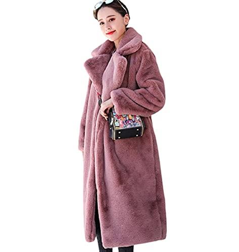 Abrigo Informal para Mujer, Chaqueta de Piel sintética cálida de Invierno, Abrigo Largo Grueso, Cuello Vuelto, Abrigo cálido para Mujer,F,XL
