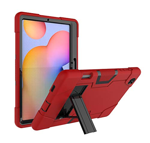 RLTech Funda para Samsung Galaxy Tab S6 Lite, Tres Capas con función Atril incorporada Shockproof Híbrido Resistente Carcasa para Samsung Galaxy Tab S6 Lite 10.4 P615/P610, Rojo