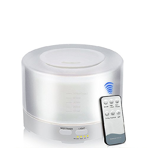Difusor de aroma con mando a distancia, 500 ml, ajuste de tiempo, humidificador para habitaciones, oficina, SPA