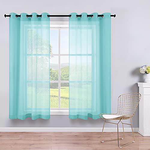 Blue Short Curtains 45 Inch Length for Bathroom Windows...