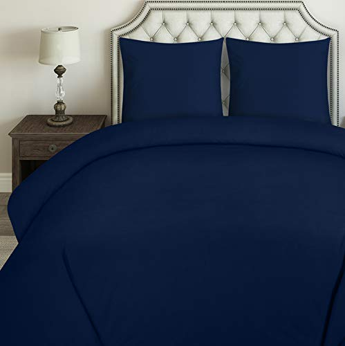 Utopia Bedding Bettwäsche-Set - Mikrofaser Bettbezug 200x200 cm und 2 Kopfkissenbezüge 80x80 cm - Marineblau Bettbezüge Set mit Reißverschluss