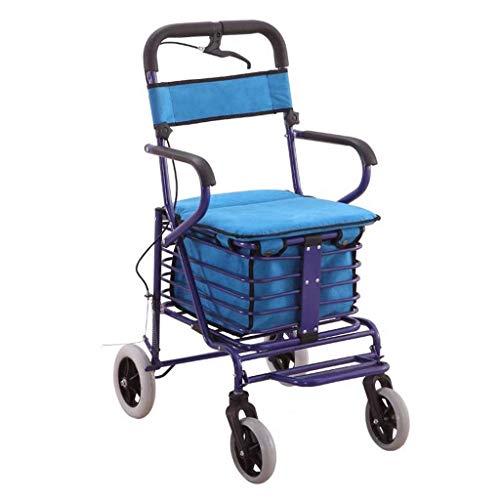 CAIyi Shopping Trolleys Winkelwagen Oude Man Trolley Opvouwbare Rolstoel Draagbare Opslaghulp Reizen Scooter met een Kruidenier Winkelwagen Kan Bear 100 Kg 56 * 44 * 100cm Blauw