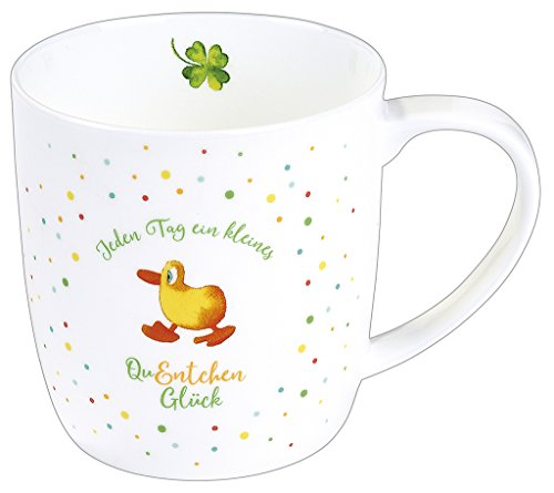 Moses QuEntchen-Tasse | Kaffeebecher aus Fine Bone Porzellan | Mit Enten-Motiv, Weiß, 11 x 9 x 8.7 cm