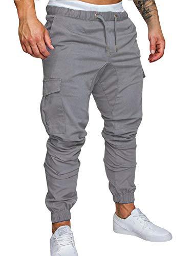 FGFD Pantalones de Hombre Jogger Deportivos Pantalón Cargo Casuales Chino de Algodón Pants Sueltos Ocasionales (Gris Claro, M)