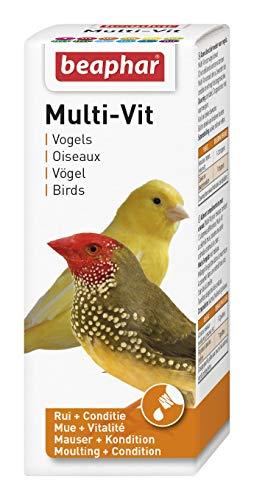 BEAPHAR – Multi-Vit, vitamines pour oiseau – Contient 11 vitamines – Assure une santé optimale – Stimule le chant – Accélère la mue – Rend le plumage sain et brillant – 50 ml