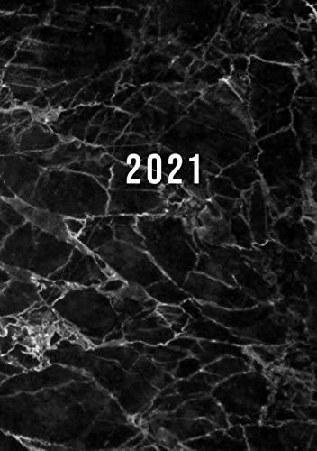 2021: Terminkalender mit Uhrzeiten 5 bis 23h Tag | 1 Tag auf 1 Seite mit Zeiteinteilung | A5 Tagesplaner mit Zeit | Kalenderbuch Planer Organizer ... Jahresplaner | Soft-Cover Marmor Schwarz