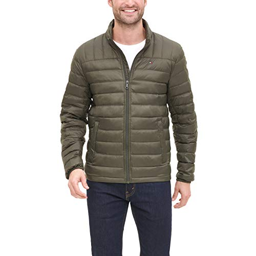 Tommy Hilfiger Men's Big and Tall Packable Down Jacket, Olive, 3X Big