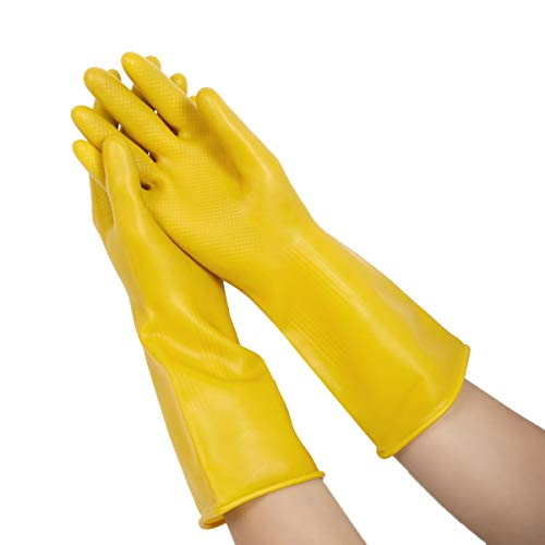 ranrann Guanti Lunghi da Cucina Antiscivolo Gloves Domestici Giallo Infrangibile Guanti Riutilizzabili Lavabili in Lattice Utensili per Pulizia della Casa Lavanderia Giallo L
