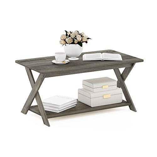 Furinno Modern Simplistic Criss-Crossed Coffee Table, French Oak Grey