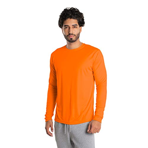 Vapor Apparel Men's UPF 50+ UV Sun Protection Long Sleeve Performance T-Shirt for Sports and Outdoor Lifestyle, XX-Large, Safety Orange