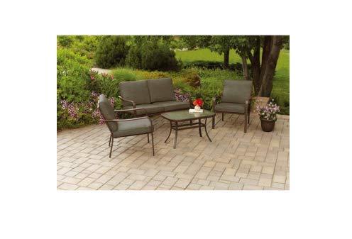 Mainstays Stanton Cushioned 4-Piece Patio Conversation Set, Brown, Seats 4