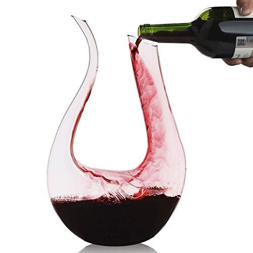 Wine Decanter,Smaier 1.5L U Shape Classic Wine Aerator, Wine Accessories,100% Lead-free Crystal Glass,1500ml