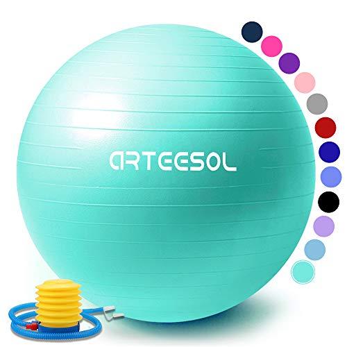 arteesol Gymnastikball, Balance Ball 45cm/55cm/65cm/75cm Yoga Ball mit Pumpe Anti-Burst Fitness Balance Ball für Core Strength (Meerblau, 55cm)